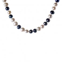 Collana di Perle tonde Bianche e Nere e Argento 925