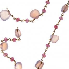 Catena Quarzo Rosa e Argento 925 dorato - Fiori di Primavera - 10 cm.