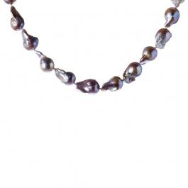 Collana di Perle Barocche Grigie e Argento 925