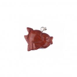 Ciondolo Unisex con animale in Diaspro Rosso - Pesce