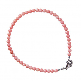 Bracciale in Corallo Bambù Rosa sfaccettato e Argento 925