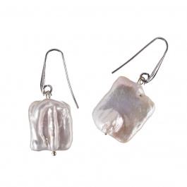 Orecchini di Perle Rettangolari piatte e Argento 925