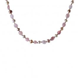 Collana di Quarzo Rosa e Perle