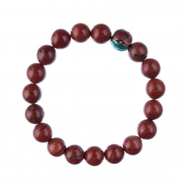 Bracciale Diaspro Rosso con elemento tibetano, elastico, sfere 10mm