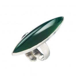 Anello lungo regolabile di Agata Verde e Argento 925