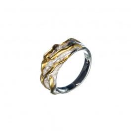 Anello Argento 925 decorato e dorato
