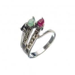 Anello di Smeraldo, Rubino, Zaffiro Nero e Argento 925