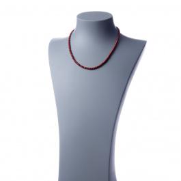 Collana corta Diaspro Rosso e Ag 925, sfere 4mm
