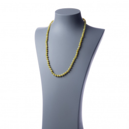 Collana lunga Giada Lemon e Ag 925, sfere 6mm