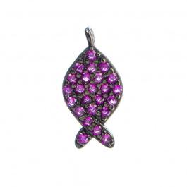 Ciondolo Pesce Argento 925 Nero con Zirconi Rubino