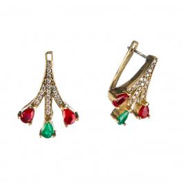 Orecchini in Agata Verde e Rossa in Argento 925 e Bronzo - Stile Turco