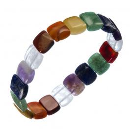 """Bracciale elastico  """"7 Chakra"""" elementi piatti rettangolari"""