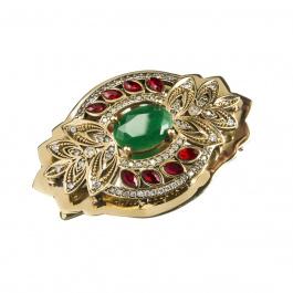 Spilla Fiore con Agata Verde, Rossa e Zirconi in Argento 925 e Bronzo - Stile Turco