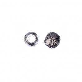 Distanziatore Tibetano a barile con motivo inciso color Argento da 0.9 cm - 8 pz.