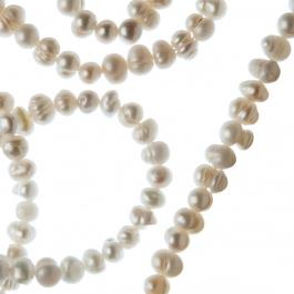 Filo di Perle d'Acqua dolce Tonde Irregolari (Potato) da 4-5 mm color Bianco