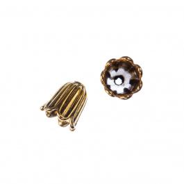 Coppetta a campana decorata color Oro Anticato diametro 1 cm- 5 pz.