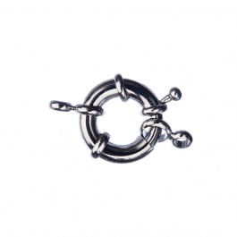 Chiusura anello in Ottone con molla color Argento Anticato diametro 1.7 cm - 1 pz.