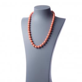 Collana lunga Corallo Bambù Rosa e Ag 925, sfere 12mm
