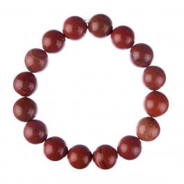 Bracciale Diaspro Rosso, elastico, sfere 12mm