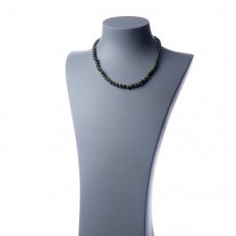 Collana corta Giada Nefrite e Ag 925, sfere 6mm