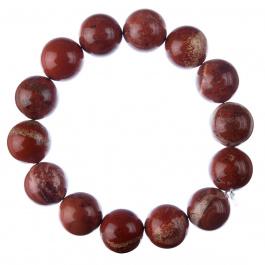 Bracciale Diaspro Rosso, elastico, sfere 14mm