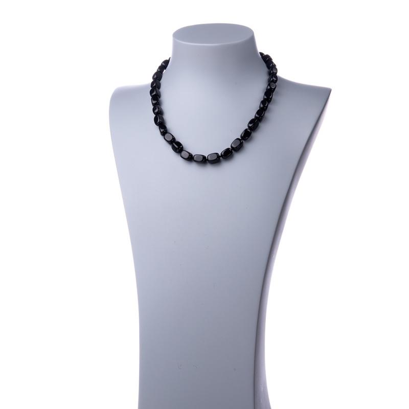 Collana corta in Ossidiana Nera e Argento - 48 cm