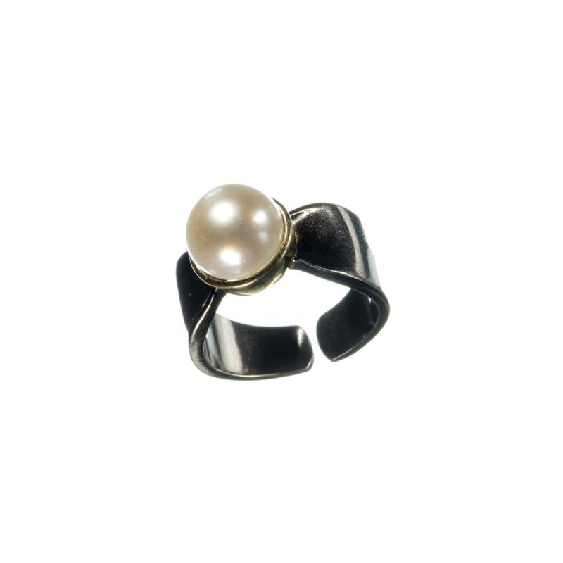 Anello di Perla su Argento 925 Nero e Dorato