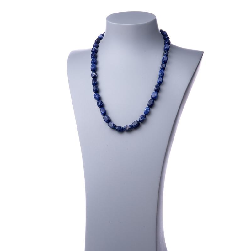 Collana lunga in Sodalite e Argento - 60 cm