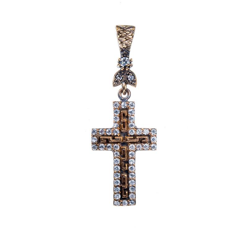 Ciondolo a croce di Argento 925 con Zirconi