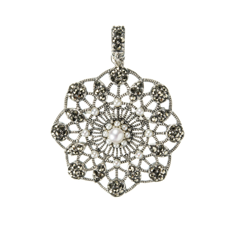 Ciondolo/Spilla in Argento 925 con Perle e Marcasiti