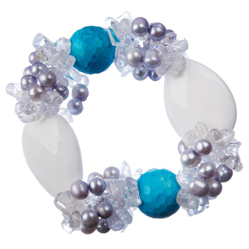 Bracciale elastico con Perle d'Acqua Dolce e Pietre varie