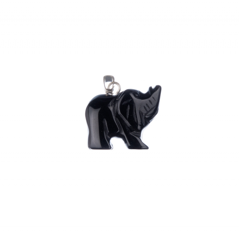 Ciondolo Unisex con animale in Onice - Elefante