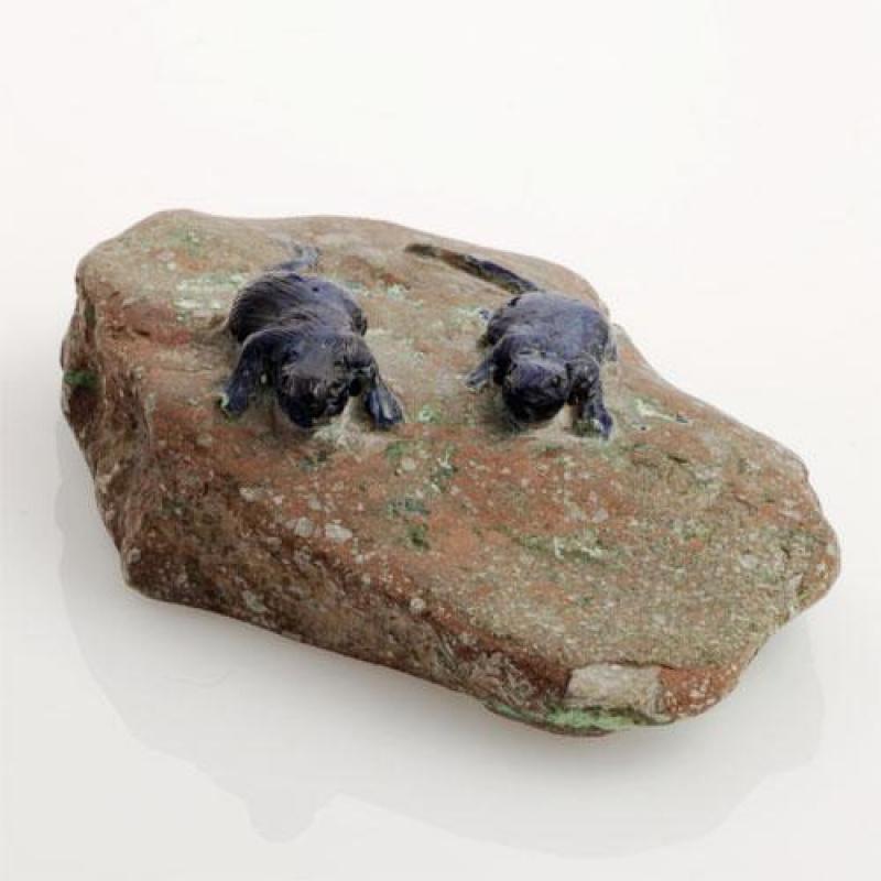 Coppia di Topi in Azzurrite-Crisocolla