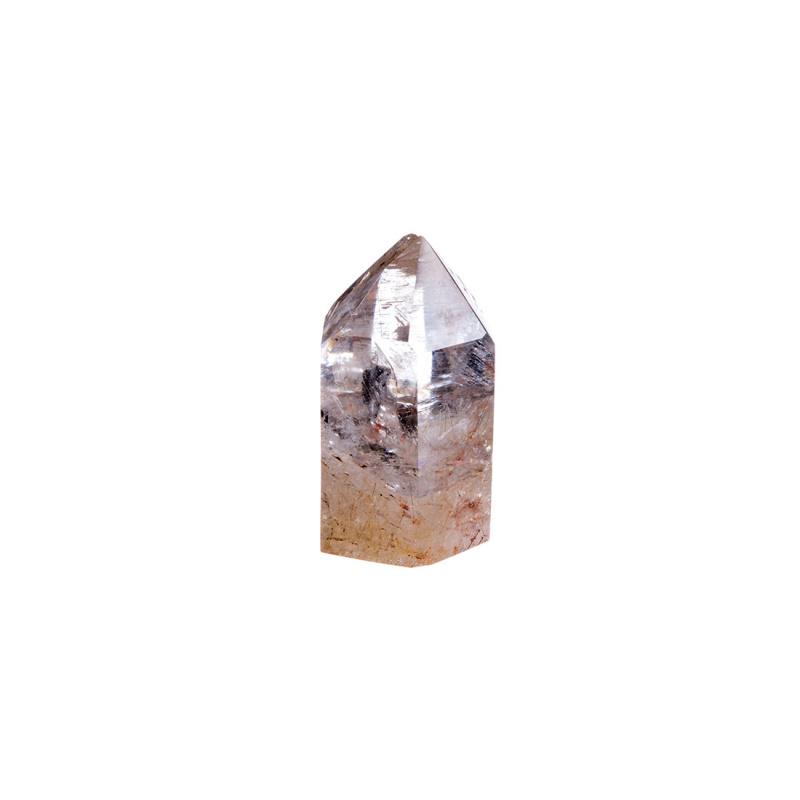 Prisma in Quarzo Ialino con Rutilo color Rame e Giallo