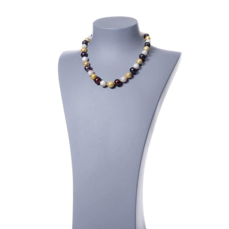 Collana di Perle Multicolor d'Acqua dolce tonde e Argento 925