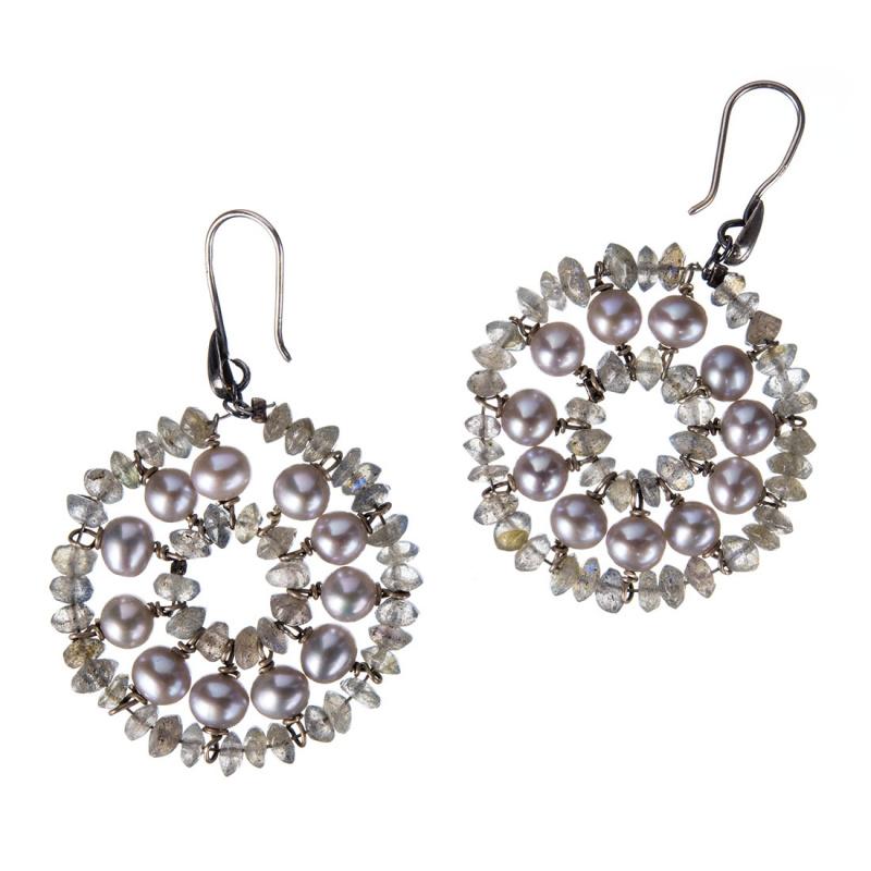 Orecchini Tondi con Perle, Labradorite e Argento 925