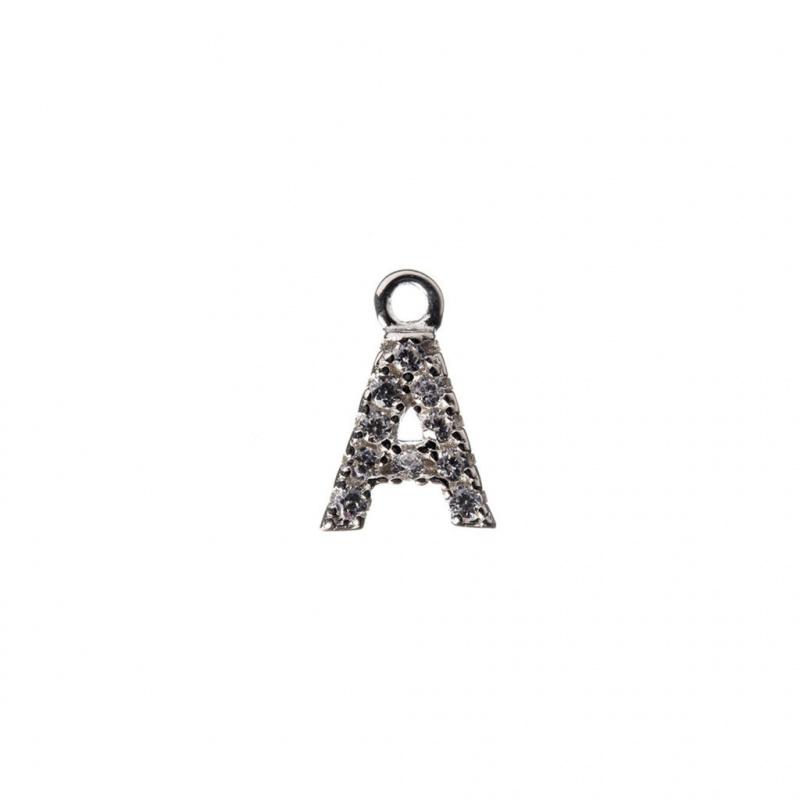 Pendente Alfabeto lettera A in Argento 925 e Zirconi