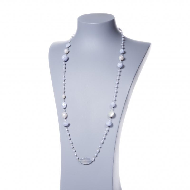 Collana lunga in Calcedonio, Perle e Argento 925