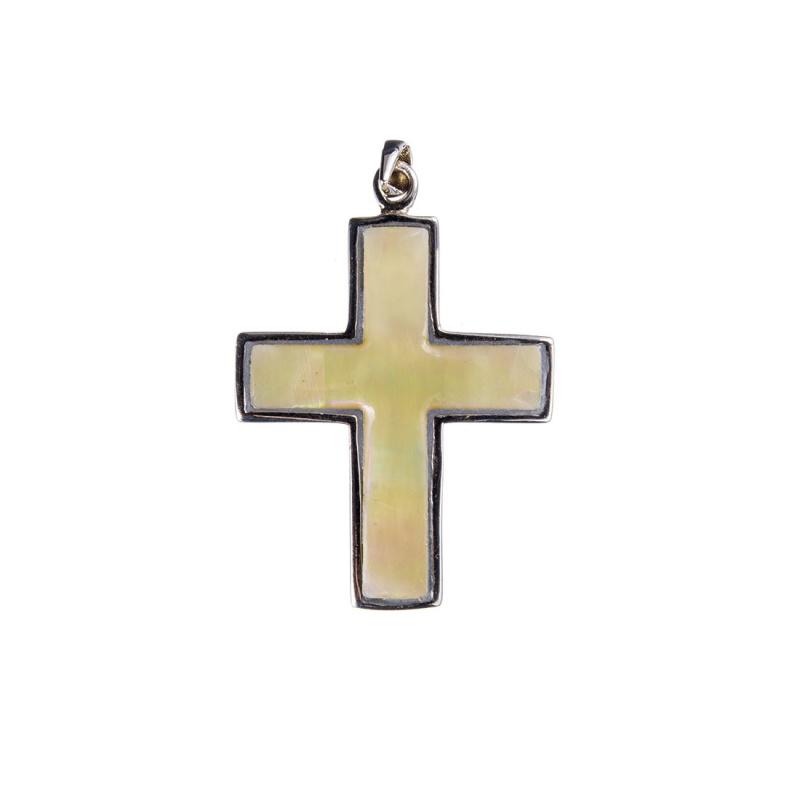Ciondolo a croce di Madreperla e Argento 925