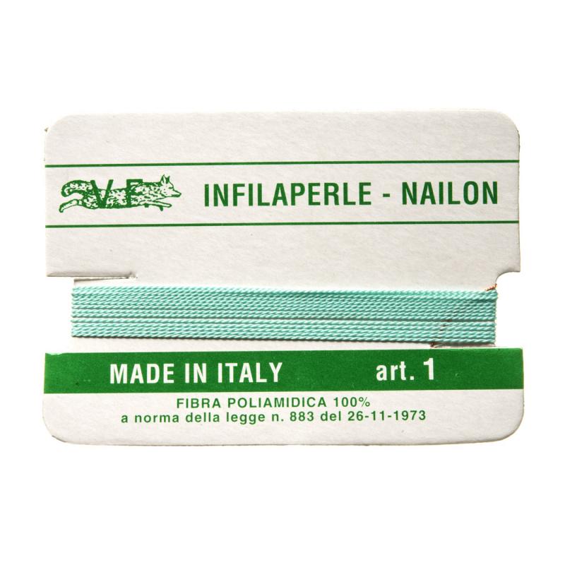 Filo Infilaperle in Nylon con ago - Acqua - Diametro da 0.4 a 0.9 mm