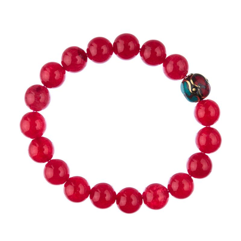 Bracciale Giada Rossa con elemento tibetano, elastico, sfere 10mm