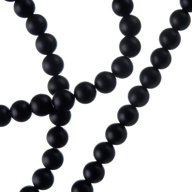 Agata Nera Opaca - Filo di sfere lisce da 6mm