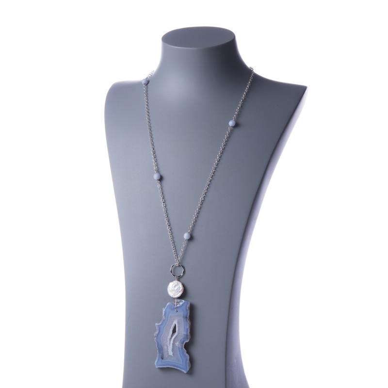 Collana Lunga d'Argento 925 con Pendente di Calcedonio