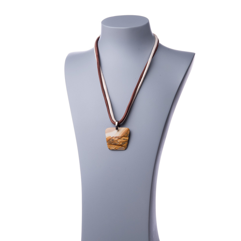 Collana Lunga Unisex con Pendente di Pietra Paesina e Seta