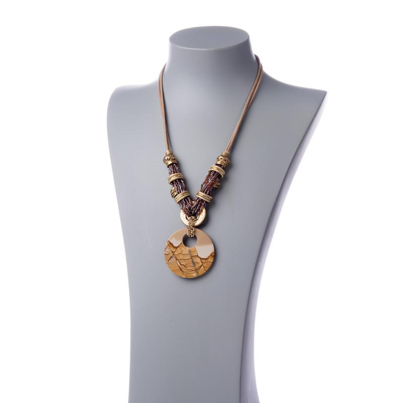 Collana con centrale tondo di Pietra Paesina e strass