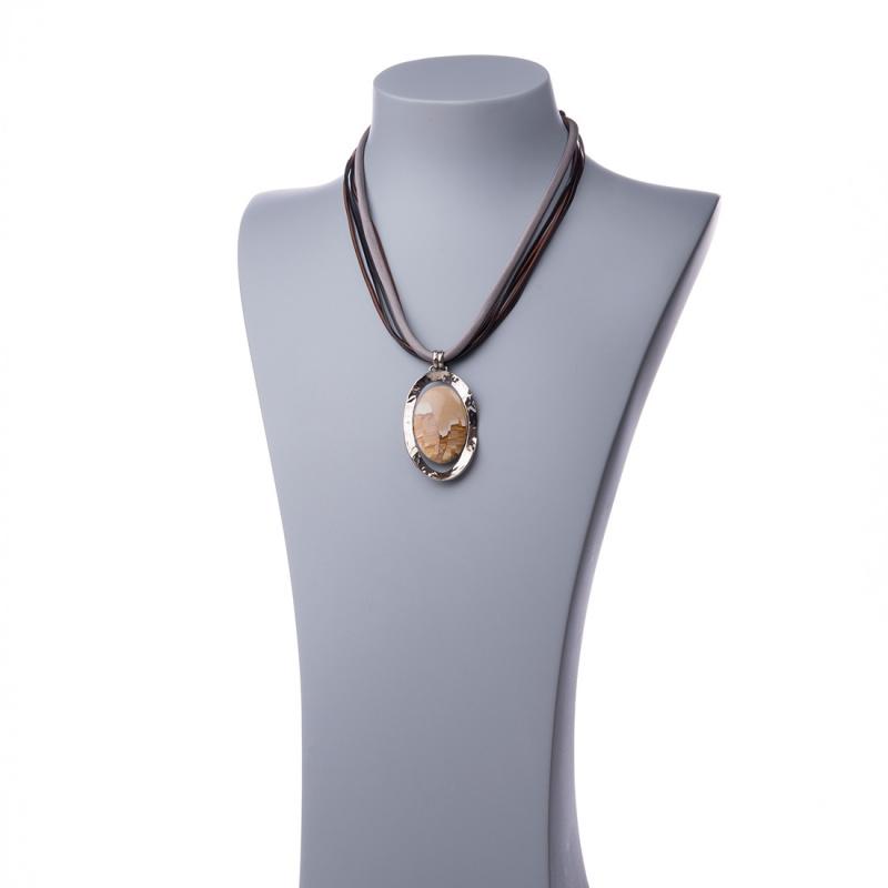 Collana Girocollo con Pendente ovale di Pietra Paesina