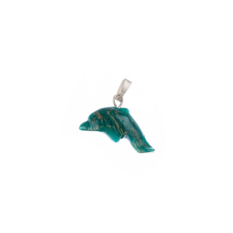 Ciondolo con animale Unisex in Amazzonite e Ag 925 - Delfino