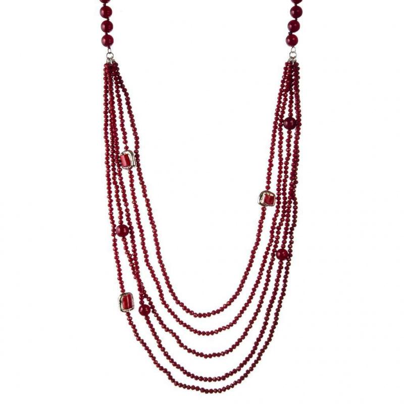 Collana 5 fili e Sfere sfaccettate di Agata Rossa lunghezza 100 cm.