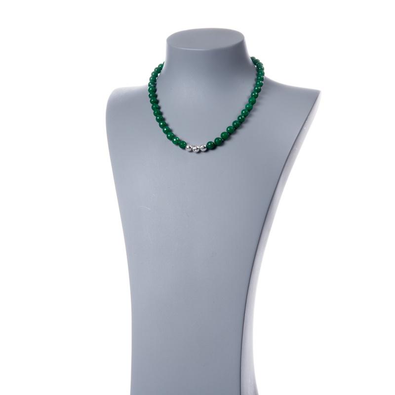 Collana in Agata Verde e Argento 925, sfere 8mm