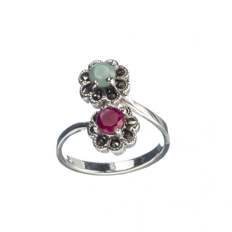 Anello di Rubino, Smeraldo e Argento 925